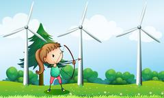 A girl with an archer near the windmills Stock Illustration