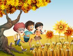 Children running at the hill with sunflowers Stock Illustration