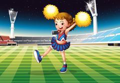 Stock Illustration of A cheerleader in the stadium