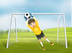 A football catcher in a yellow uniform - stock illustration