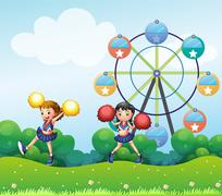 Two cheerers dancing in the hill with a ferris wheel at the back - stock illustration
