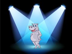 A stage with a hippopotamus standing in the middle - stock illustration