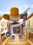A robot wearing a hat and holding a gun - stock illustration