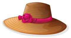 A brown hat with a pink ribbon - stock illustration