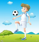 Stock Illustration of A boy playing soccer during daytime