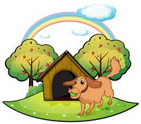A dog playing outside the doghouse near the apple tree Stock Illustration