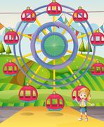 A girl below the ferris wheel - stock illustration