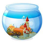 Stock Illustration of An aquarium with a palace