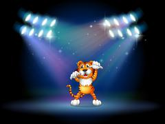 A tiger raising her hands at the stage under the spotlights - stock illustration