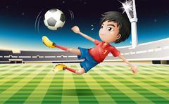 A young football player with a red uniform - stock illustration