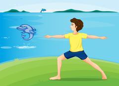 A boy exercising at the riverbank - stock illustration
