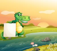 An alligator with an empty board at the riverside - stock illustration
