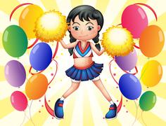 A young cheerer in the middle of the balloons Stock Illustration