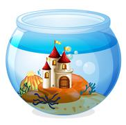 An aquarium with a castle Stock Illustration