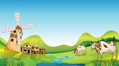 A farm with a barn and cows Stock Illustration