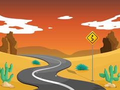 A desert with a curve road - stock illustration