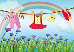 Hanging baby clothes near the garden with fresh flowers - stock illustration
