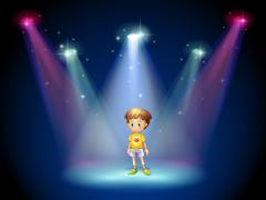 A little man in the middle of the stage with spotlights - stock illustration