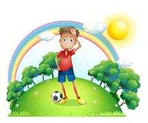 A tired soccer player at the top of the hill Stock Illustration