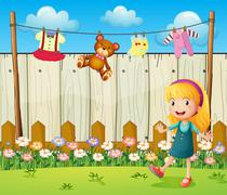 A backyard with hanging clothes and a young girl - stock illustration