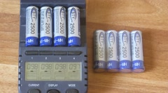Batteries are charged in device, lies next to the battery pack - stock footage