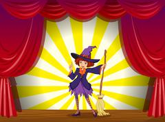 A witch at the stage with a red curtain - stock illustration