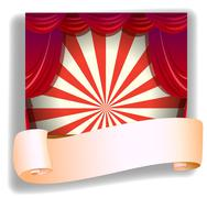 A stage and a blank paper - stock illustration