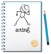 A notebook with a sketch of a person acting at the cover page - stock illustration