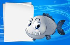 A piranha beside an empty signage under the sea Stock Illustration
