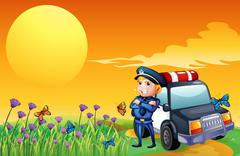 A sunset view with a policeman and a car at the hill Stock Illustration