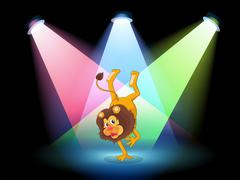 A lion performing in the middle of the stage Stock Illustration