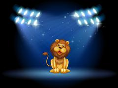 A stage with a lion at the center - stock illustration
