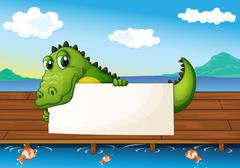 An alligator holding an empty signboard at the lake with fish - stock illustration