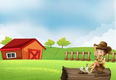 A boy at the farm sitting in the wood with a wooden house Stock Illustration