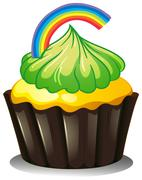 A cupcake with a green icing - stock illustration