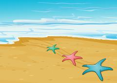 Three colorful starfishes in the beach Stock Illustration