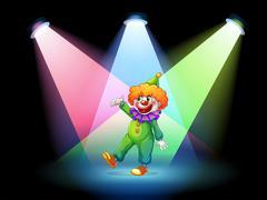 Stock Illustration of A clown under the spotlights