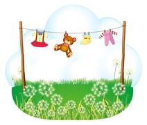 Stock Illustration of Baby things hanging above the weeds
