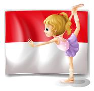 A ballet dancer performing in front of the Indonesian flag Stock Illustration