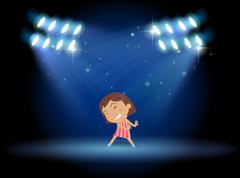 A little girl dancing in the middle of the stage - stock illustration