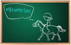 Stock Illustration of A blackboard with a drawing of an equestrian