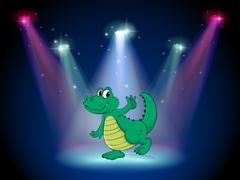 A crocodile dancing in the middle of the stage - stock illustration