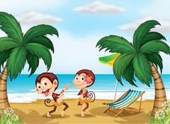 Two monkeys wearing a hawaiian attire Stock Illustration