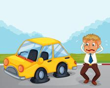 A worried man beside his car with flat tires - stock illustration
