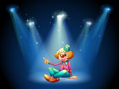 A stage with a female clown sitting at the center Stock Illustration
