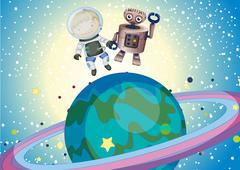 A boy and a robbot in the outer space Piirros