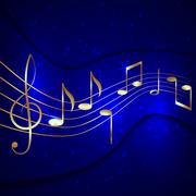 Vector abstract blue musical background with golden notes stave and treble clef Stock Illustration