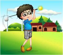 A little boy playing golf - stock illustration