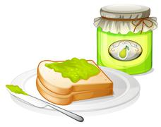 Stock Illustration of A bread with avocado jam