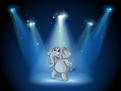An elephant dancing in the middle of the stage - stock illustration